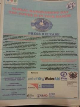 Ganzsseitige Anzeige im Daily Graphic zum global handwashing day