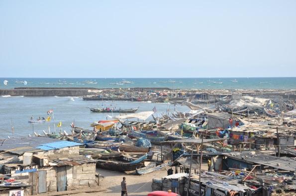 Blick über den Fischerhafen von Jamestown