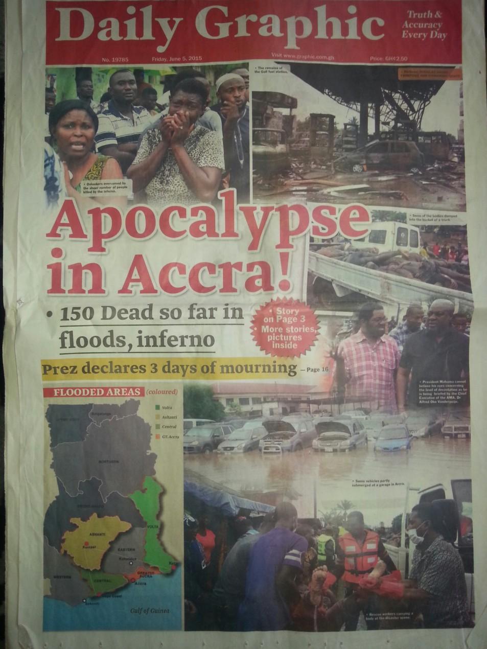 Daily Graphic Schlagzeile nach der Flut